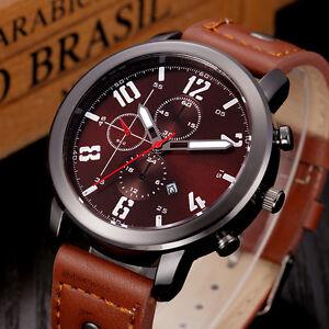 Waterproof-Mens-Fashion-Leather-Sport-Analog-Quartz-Stainless-Steel-Wrist-Watch
