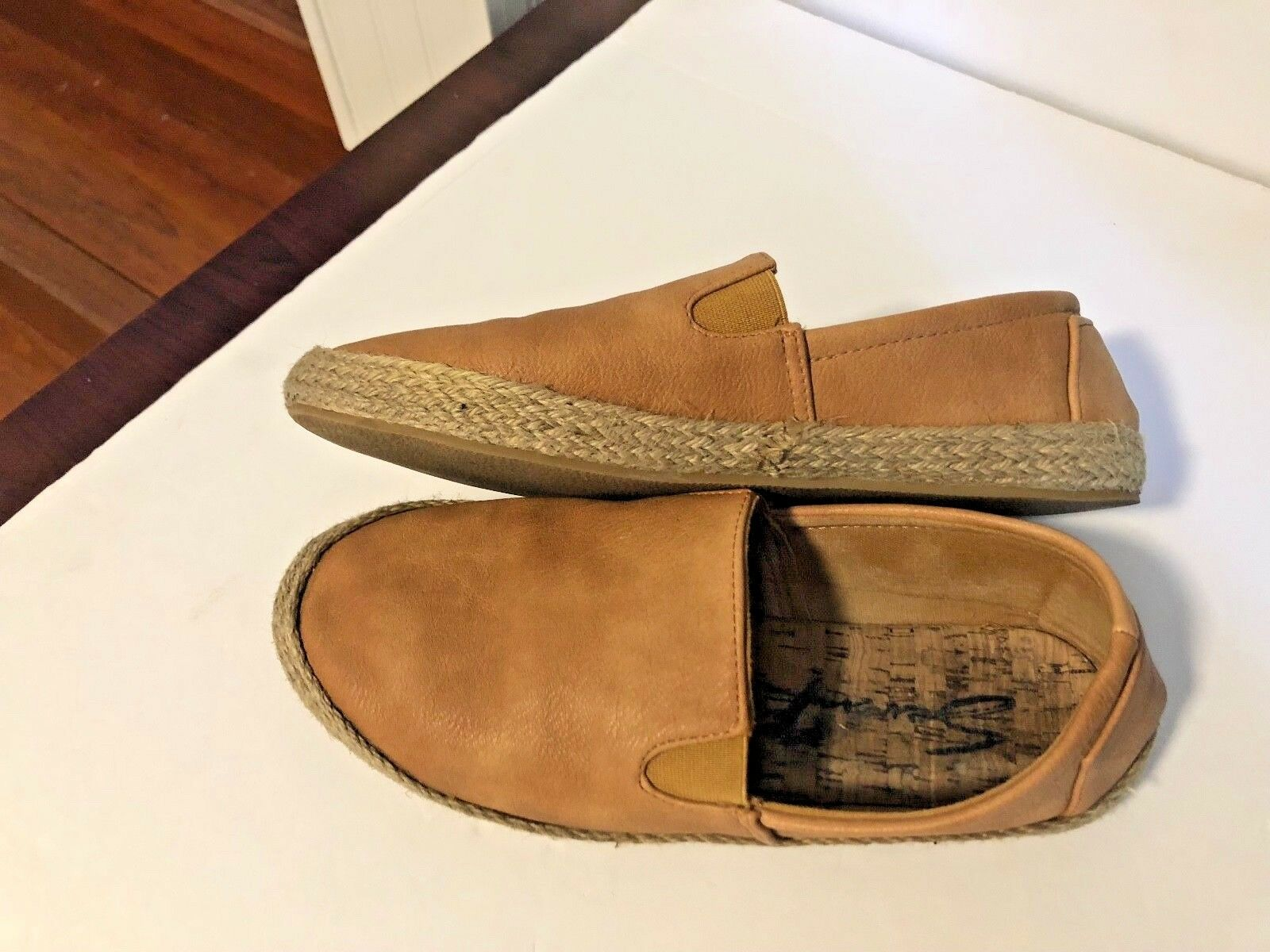 7 For All Mankind Mens Sz 10 Slip On Flat shoes Carmel wicker around sole