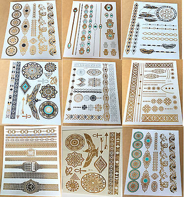 9 Sheets Waterproof Temporary Disposable Metallic Tattoo Gold Silver Black Flash