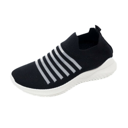 Womens Breathable Trainers Sneakers Mesh Comfy Slip On Striped Sport Gym Shoes