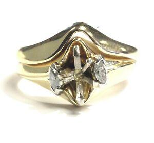 14k-yellow-gold-18ct-VS1-G-semi-mount-diamond-engagement-ring-wedding-band-6-7g