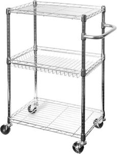 Details about Chrome Metal 3-Tier Utility Kitchen Cart-Basket  Shelf-Wheels-Mail Room-Serving