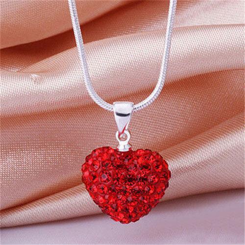 Mode Frauen Anhänger Schmuck Kristall Herz versilbert Halskette KetteD6