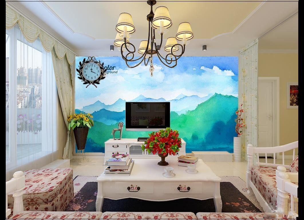 3D Beau Aquarelle 6 Photo Papier Peint en Autocollant Murale Plafond Chambre Art