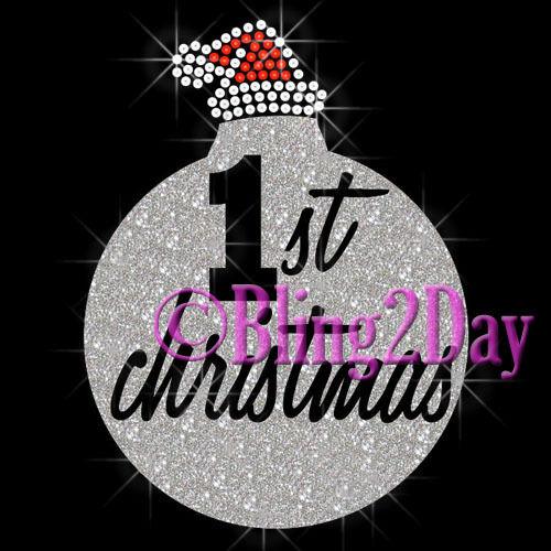 Vinyl//Rhinestone Iron on Transfer Bling Santa Hat Glitter 1st Christmas DIY