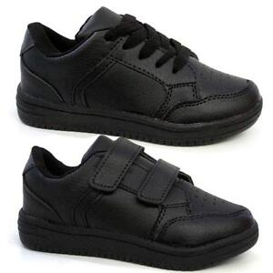 BOYS BLACK SCHOOL SHOES NEW KIDS GIRLS SKATE TRAINERS BACK TO ...