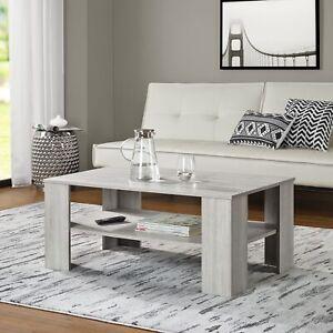 Détails sur [en.casa]® table basse chêne blanc 100x60cm table de salon  table d\'appoint bois