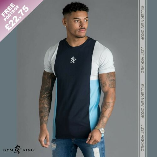 Navy-Silver Grey-Blue Gym King Mens Front Panel T-Shirt