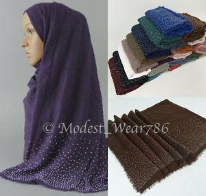 Premium-Viscose-Maxi-Rhinestones-Crinkle-Hijab-Scarf-Shawl-Muslim-180x90-cm
