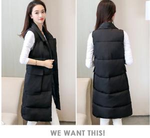 bc81c9ae0d Women s Sleeveless Long Vest Down Waistcoat Fashion Jacket Turn-down ...