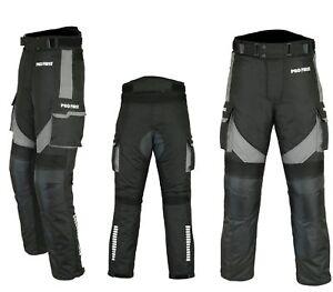 Motorradhose-wasserdichte-Textilhose-GRAU-Protektoren-Taschen-Gr-XS-6XL