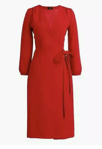 J-Crew-Women-039-s-Wrap-Dress-365-Crepe-Festive-Red-Size-0-NWT-138-Style-H6232