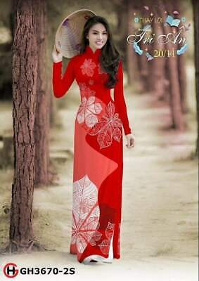 Ao Dai Traditional Vietnamese Long Dress Collections with Pants Silk 3D ADVN01052019166