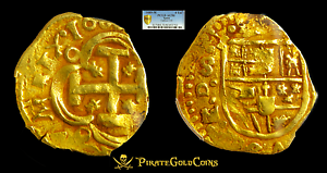 SPAIN-DATED-1689-4-ESCUDOS-PCGS-50-1715-FLEET-GOLD-TREASURE-DOUBLOON-COB-COIN