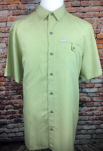 Columbia-Mens-Lite-Plaid-Button-Front-Short-Sleeve-Shirt-Hiking-Travel-Green-XL