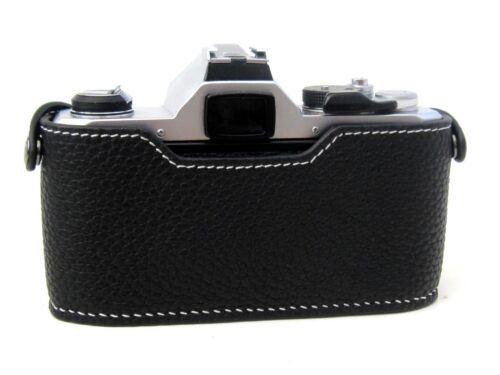 Funda de cuero de media para Pentax MX-negro con costuras en Blanco-Totalmente Nuevo