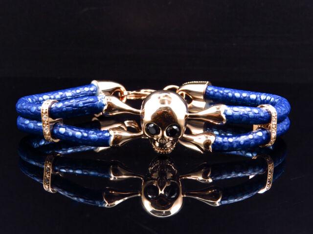 "Rose Gold Finish Simulated Lab Diamond Blue Leather Skull Band Bracelet In 8"""