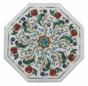 White Marble Coffee Table Top Precious Malachite Parrot Floral Inlay Art Decors