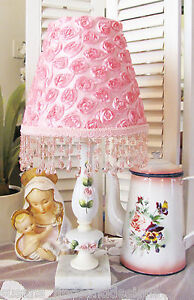 VinTaGE ROSES LAMP PLUS PINK Rosette SHADE Shabby beaded chic Fringe Trim 1 of 2