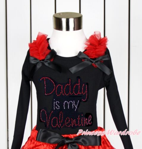 Noir Blanc Volants Top Bow Strass daddy est Valentine Imprimé Sauvage nb-10year