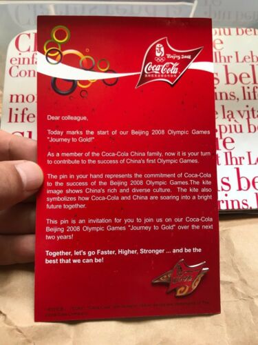 """Coca Cola China 2008 Beijing Olympic Games /""""Journey to Gold/"""" Pin"""