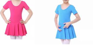 Kids Girls Soft Cotton Gymnastics Leotard Dress Ballet Dance Skirt UK