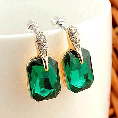 Vintage Rhinestone Emerald Stud Earrings 18k Gold Plated Fashion Statement Gift