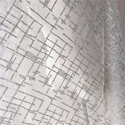 HIGH QUALITY SPARKLING SILVER GLITTER ON WHITE MESH BRIDAL DRESS LACE FABRIC