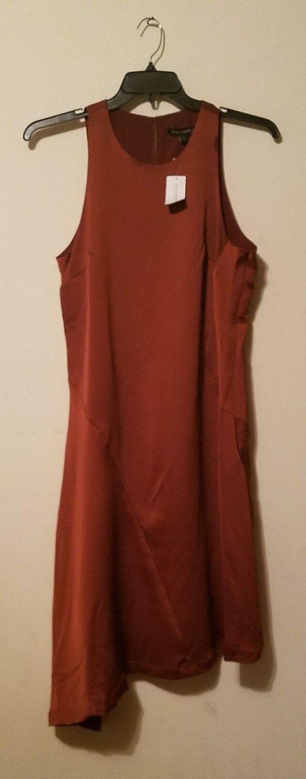 NWT Banana Republic Asymmetrical Bias Cut  Dress Mesquite Wood Bronze Brn sz 14