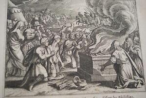 GRAVURE-SUR-CUIVRE-PHILISTINS-HOLOCAUSTE-BIBLE-1670-LEMAISTRE-DE-SACY-B79