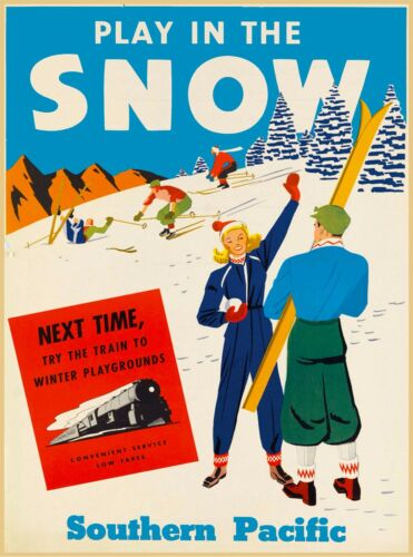 Play in the Snow Ski United States America Vintage Travel Advertisement Poster