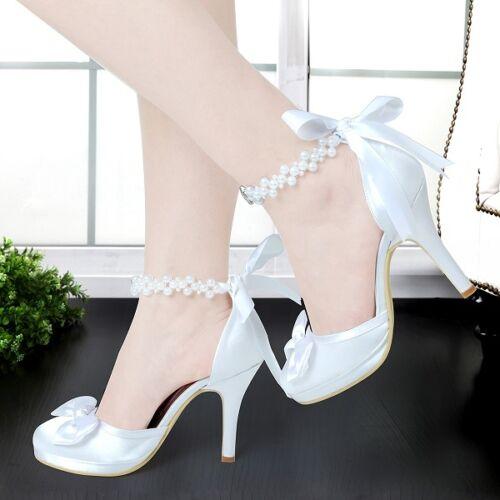 Wedding Bride Shoes White Ivory High Heels Round Toe Platform Ankle Strap Satin
