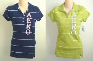 Womens-AEROPOSTALE-Striped-Logo-Jersey-Polo-Shirt-NWT-4016