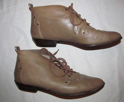 2e14363897466 vintage 9 NINE WEST H ankle lace up tan beige granny pixie western ...
