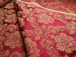Bty Vintage Brocade Upholstery Drapery Fabric Elegant Claret Red