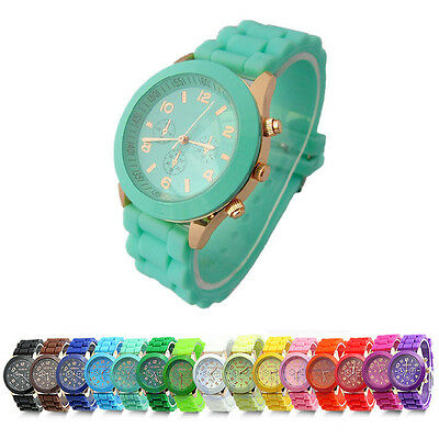 Geneva Silicone Golden Crystal Stone Quartz Ladies Womens Jelly Wrist Watches