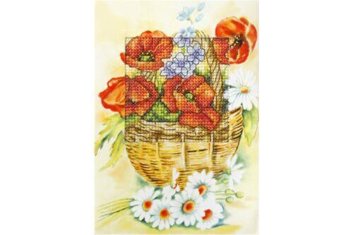 Kit de tarjeta de puntada cruzada Impreso Orchidea-amapolas en la cesta