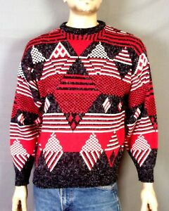 vtg-80s-Santana-Ltd-Diamond-Geometric-Knit-Sweater-Crew-Southwest-Ugly-Cosby-S