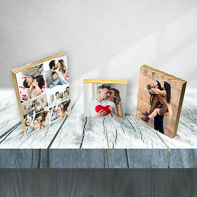 Personalised Valentine Partner Wooden Picture Plaque Photo Block Present Gift
