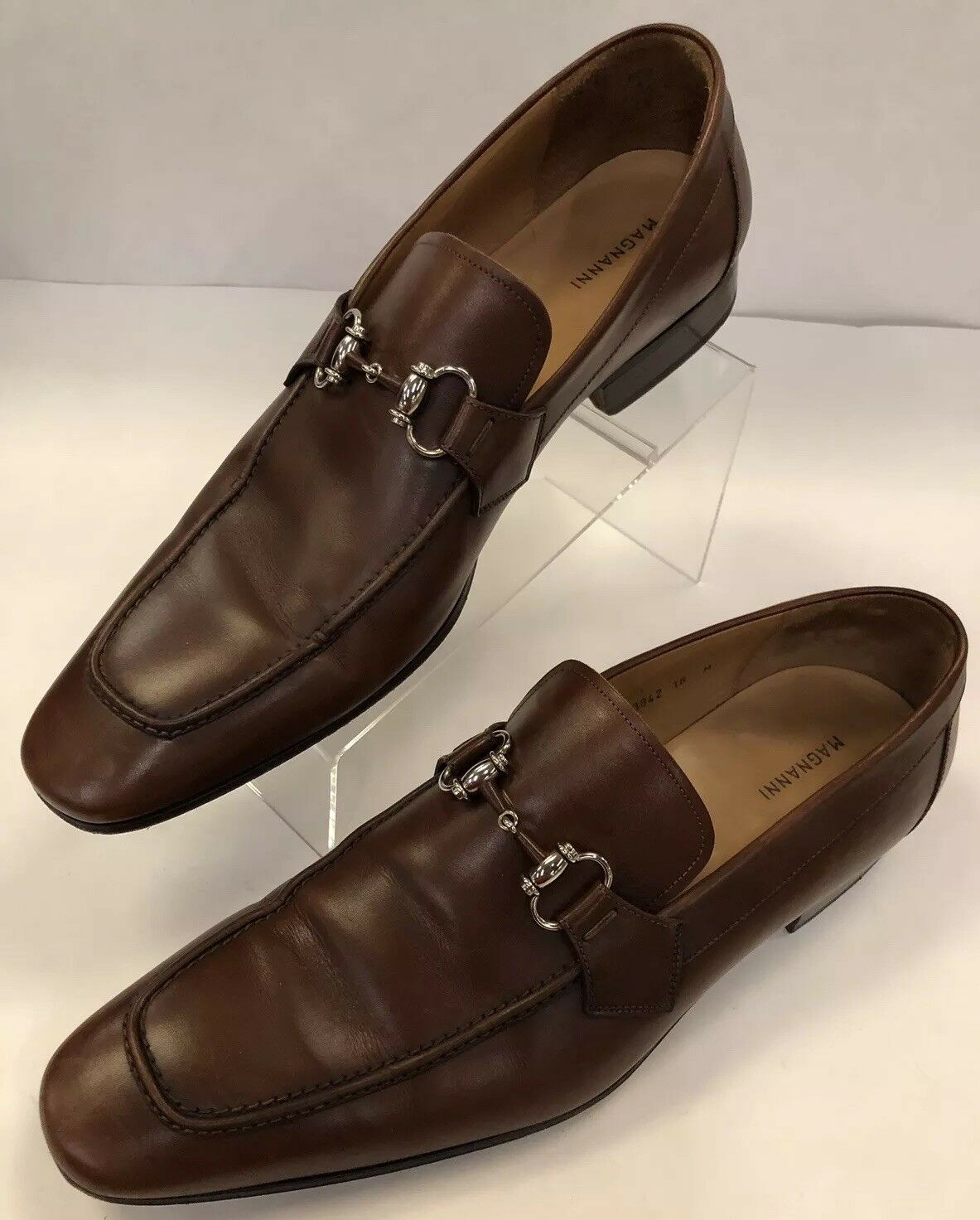 Magnanni 13842 16 M Brown Leather Horse Bit Dress Loafers Moc Toe Slip On shoes