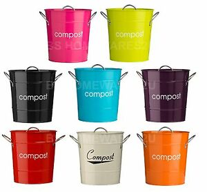 Image Is Loading Metal Compost Bin Bucket Caddy Galvanized Waste Recycle