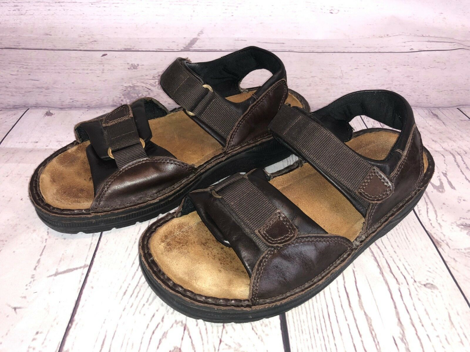 Noat Mens size 41   8.5 Brown Leather Sport Sandals 2a6