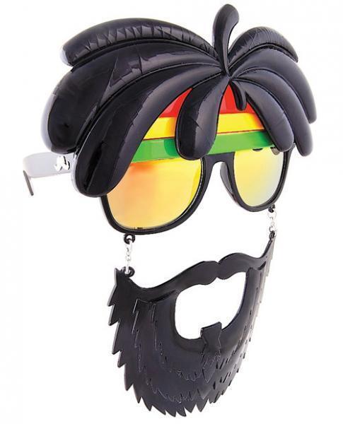 Sun Staches Rasta Sunglasses Eye Glasses Mask Halloween Jamaican Rastafarian
