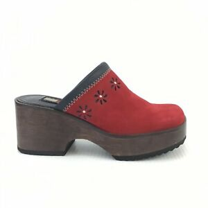 VTG-90s-Tommy-Hilfiger-Women-s-6-1-2-Red-Square-Toe-Wooden-Chunky-Heels-Clogs
