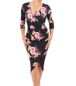 Details about New Black and Pink Floral Mock Wrap Dress Knee Length