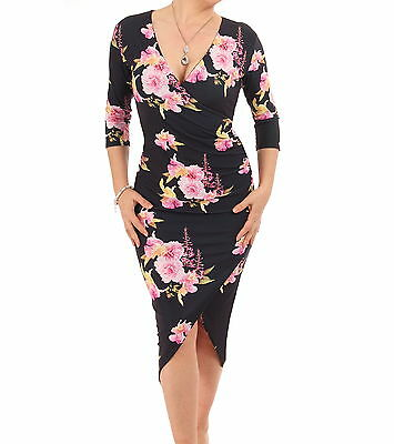 New Black and Pink Floral Mock Wrap Dress - Knee Length