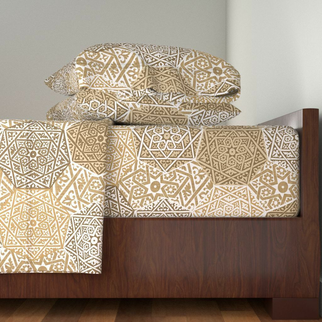 Africa MGoldcco Spellstone Marrakesh Tan 100% Cotton Sateen Sheet Set by Roostery