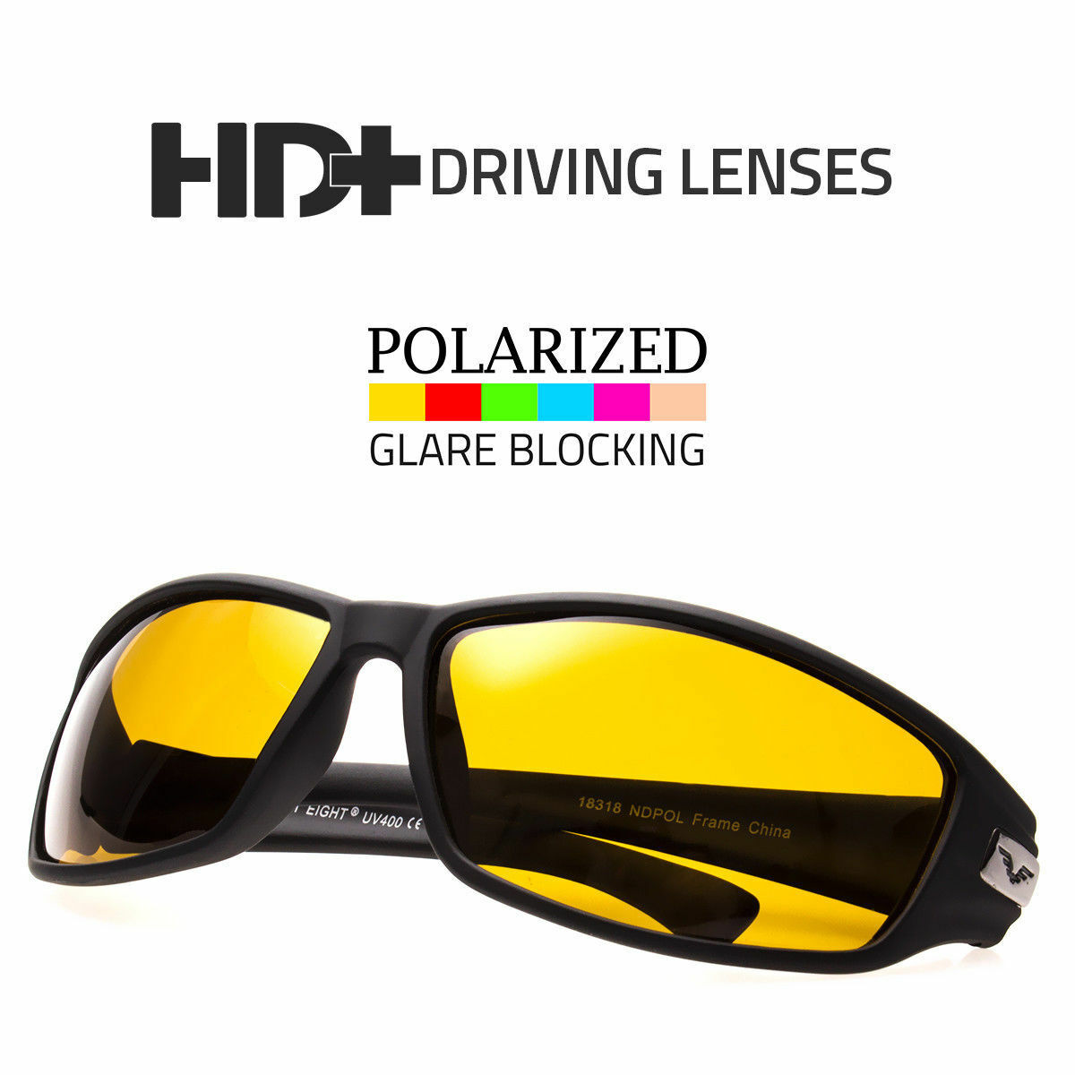3 PC SPORT WRAP HD NIGHT DRIVING SUNGLASSES HIGH DEFINITION GLASSES MAT BLACK v