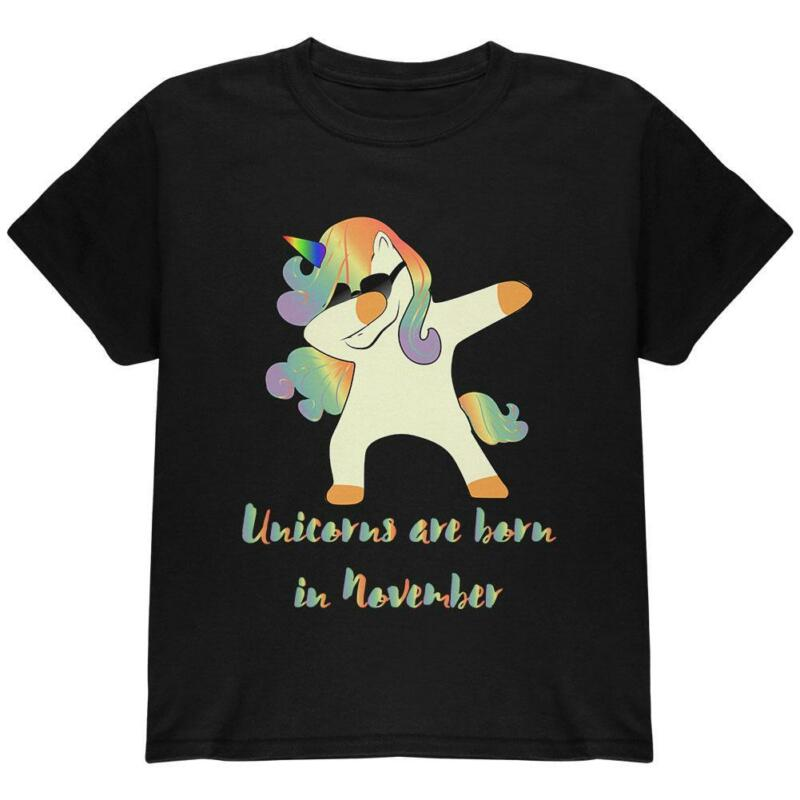 November Birthday Dabbing Unicorn Sunglasses Youth T Shirt