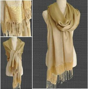 Soft-Pale-GOLD-with-Gold-Sparkle-Edge-Pashmina-Shawl-Scarf-for-Evening-Wedding